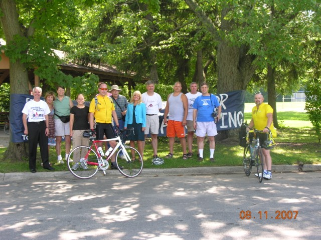Welcoming Crew in Adrian MI for the Equal Parenting Bike Trek